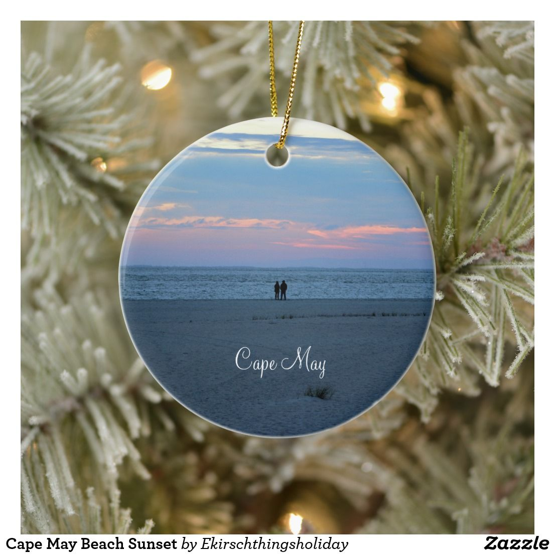 Cape may beach sunset ceramic ornament with