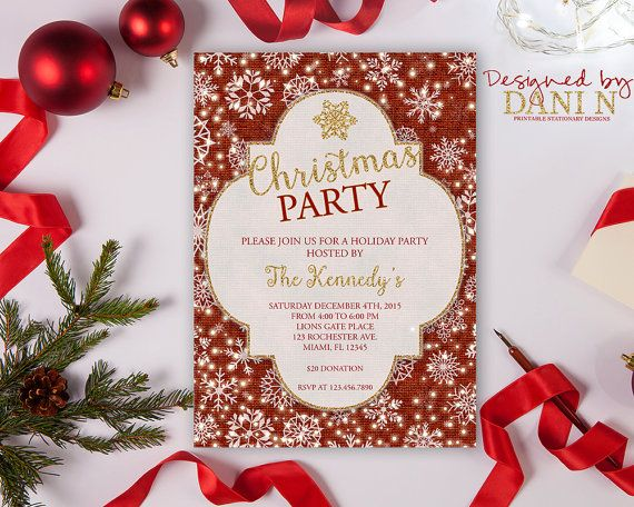 Burlap Holiday Invitation, red and gold Christmas Party Invite