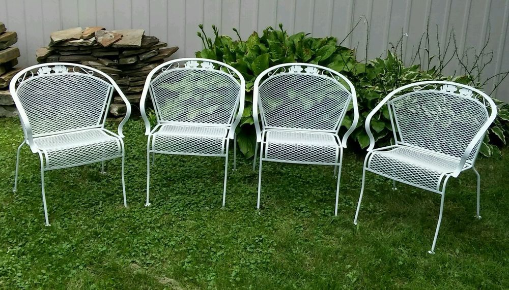4 Vintage Meadowcraft Wrought Iron Metal Barrel Back Patio Chairs Dogwood  Floral