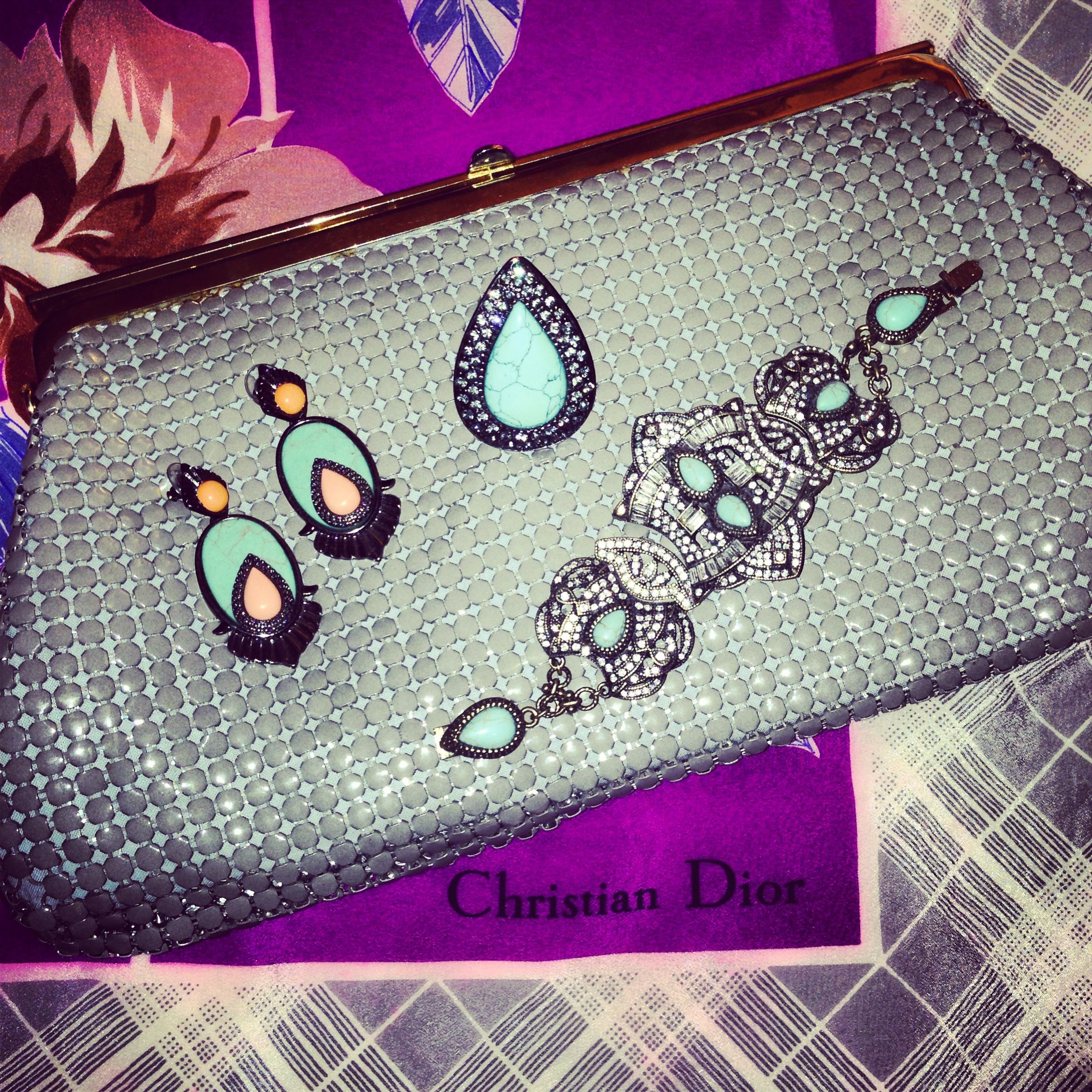 Some of my Favourite things! Vintage Dior Scarf, vintage glomesh and my stunning SW jewels xo