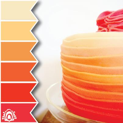 Orange ombre cake color palette pastel feather studio - Combination of orange color ...