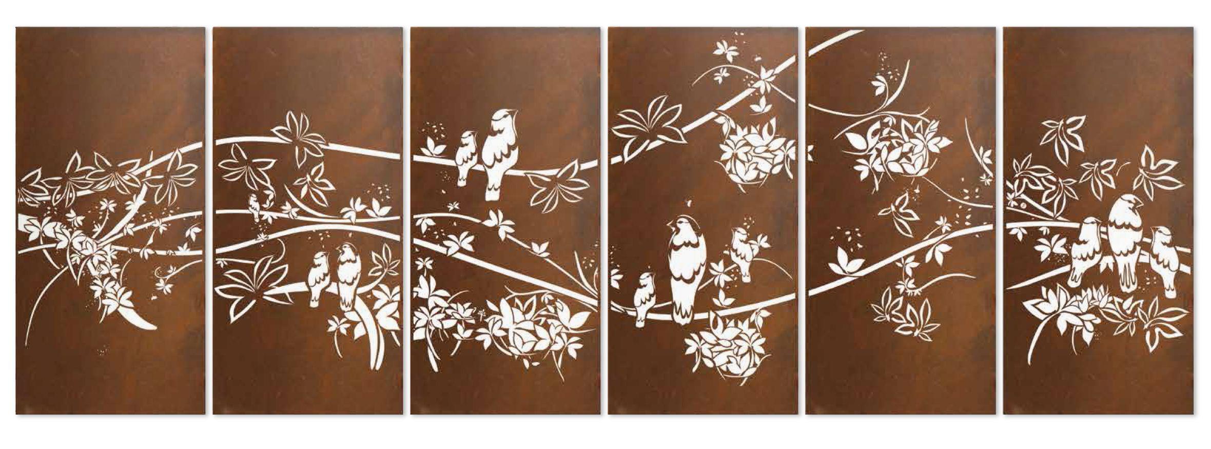 Tropical birdsu outdoor decorative garden screening by entanglements