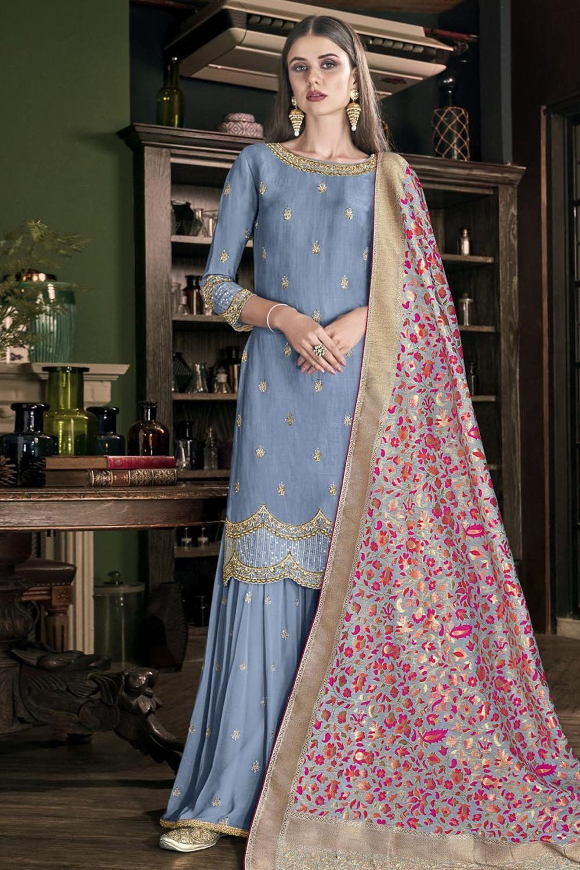 Fancy Sharara Suit Latest Lakhnavi Work Silk Suit Pant Style Suit  Set Pakistani Wedding Dress Pakistani Wedding Dress