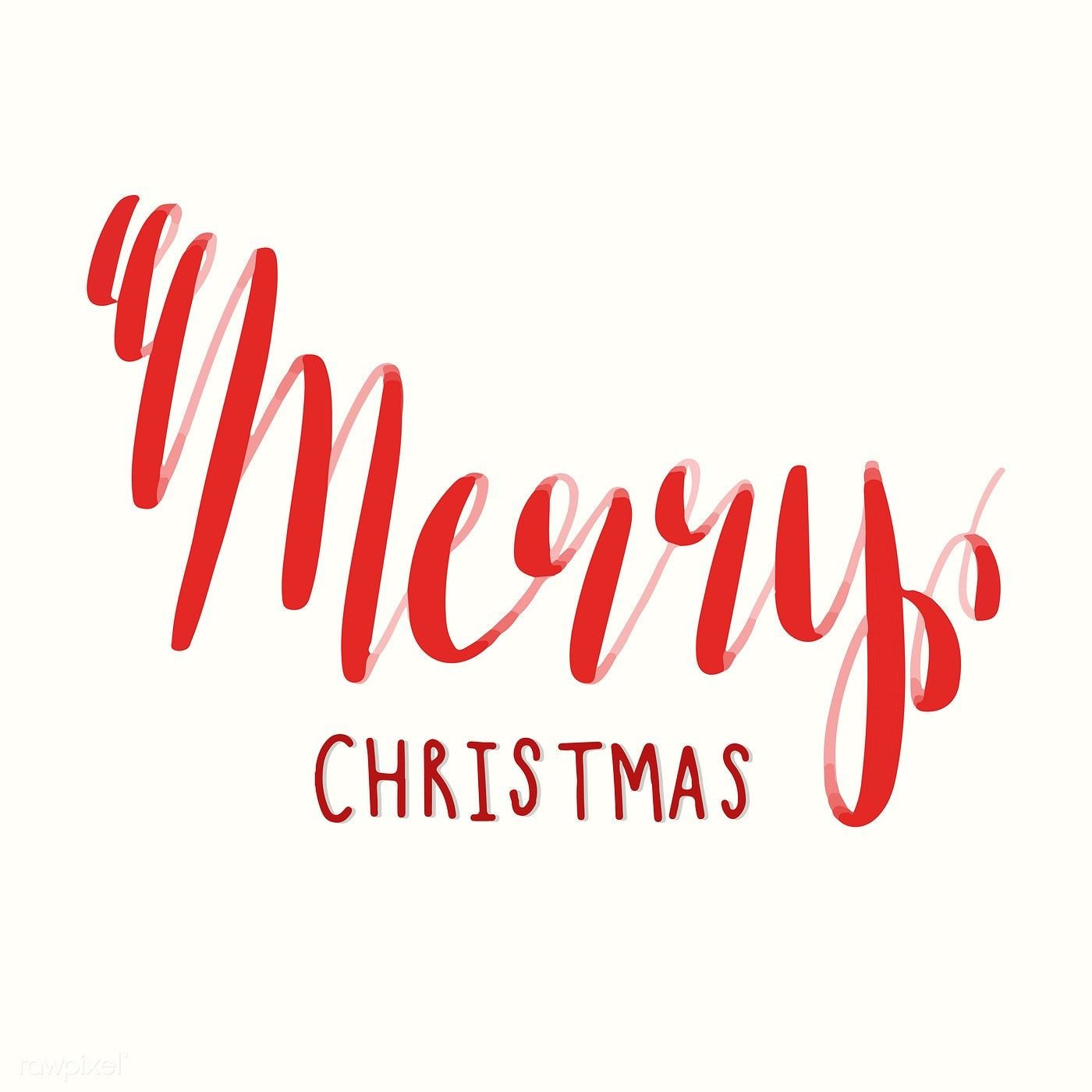 Merry Christmas typography vector in red | free image by rawpixel ...