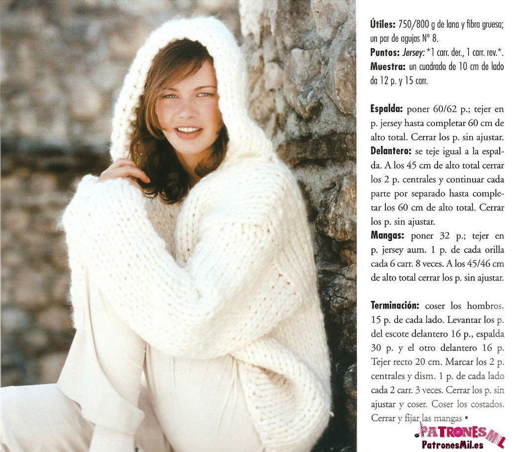patrón de este bonito y abrigado jersey blanco con capucha para ...