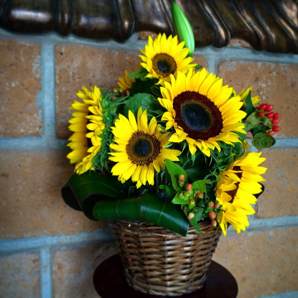 sunflowers basket canasta de girasoles casa di fiori arreglo de flores flowers