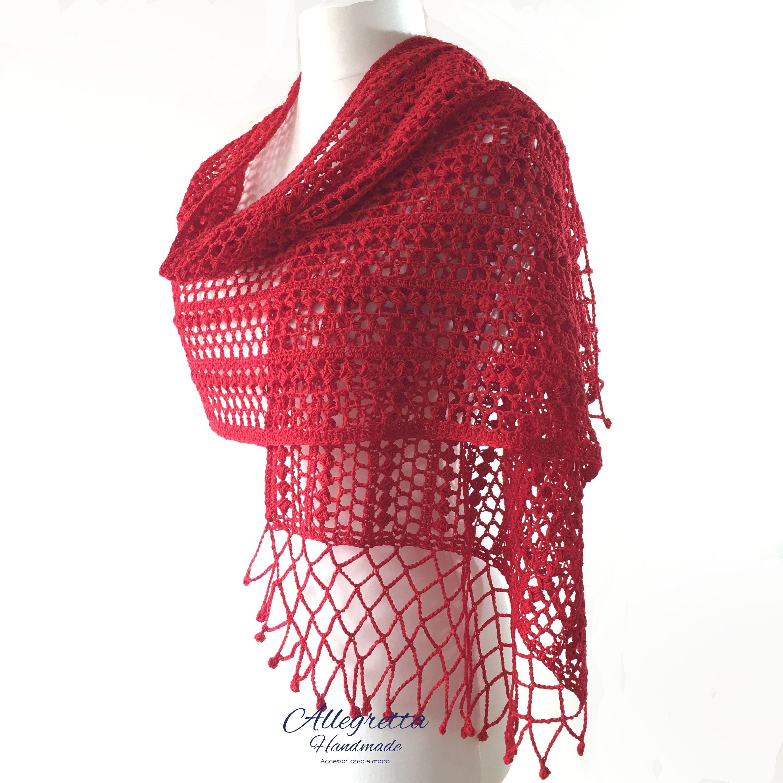 assolutamente alla moda outlet online migliori prezzi Scialle rosso elegante, Scialle in cotone all'uncinetto, Scialle ...