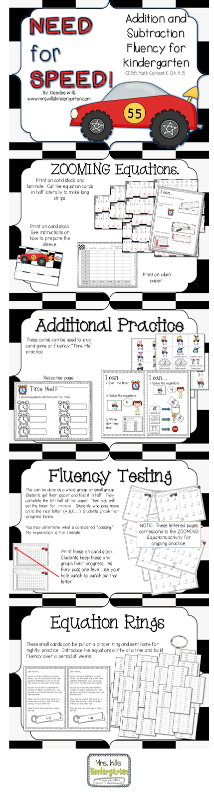 I feel the need for SPEED | Fluency practice, Kindergarten math and ...