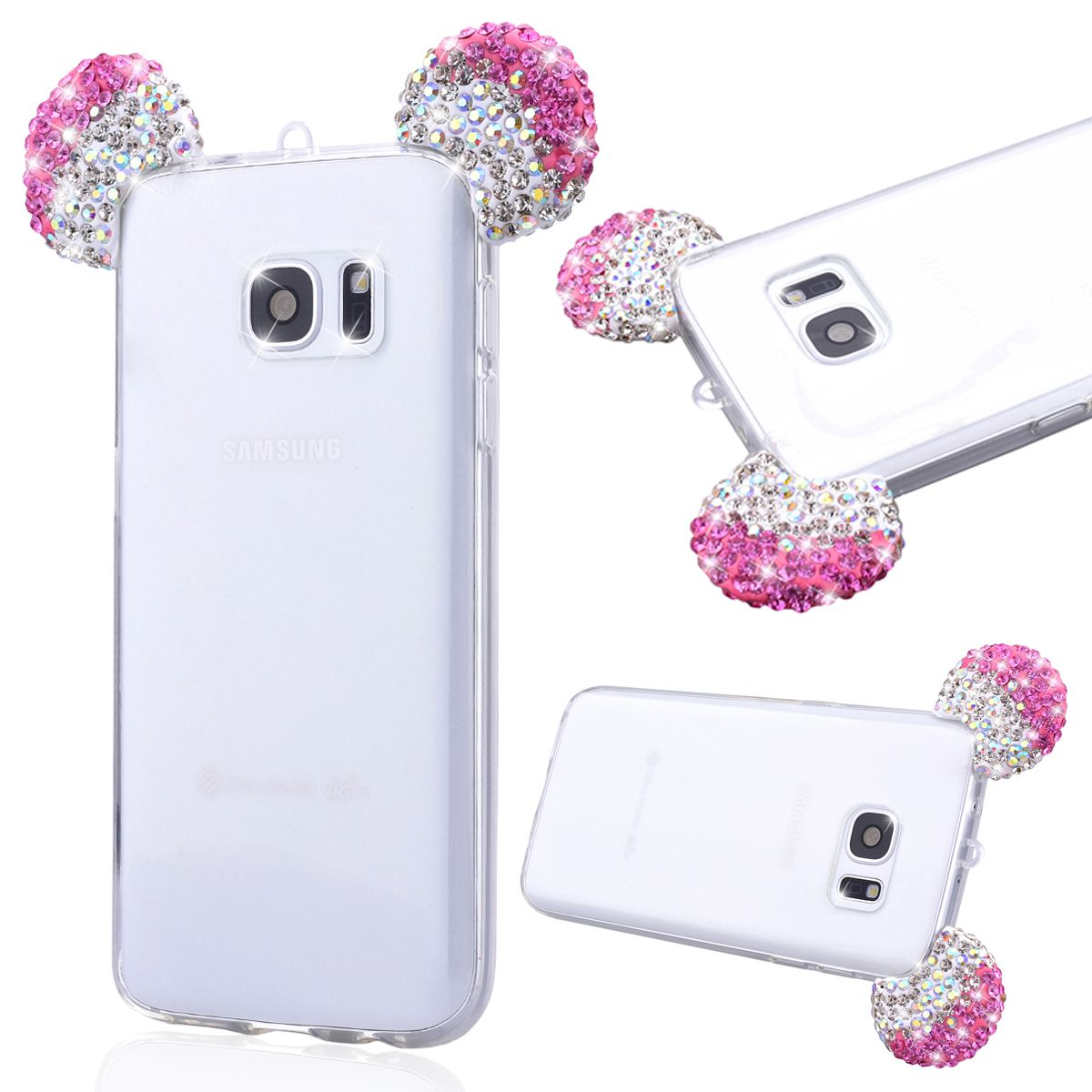 Bling glitter rhinestone 3d mickey mouse ear design cover for Housse galaxy s7