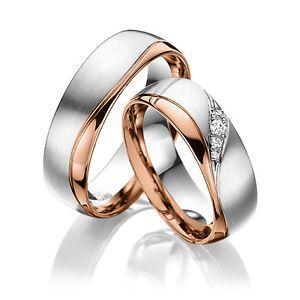 Eheringe Trauringe 585 Er Gold Bicolor Massiv Rot Weissgold Rings