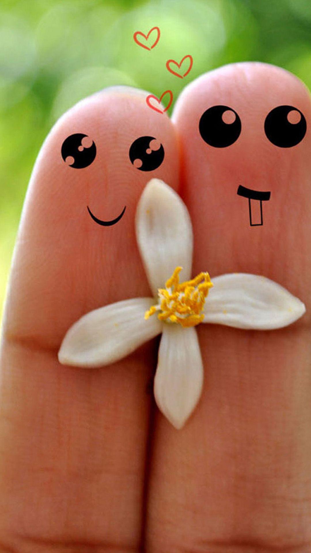 Cute Love Cartoon Couple Fingers iPhone 6 plus