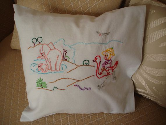 Hand embroidered pillow  with fairy tale by embroiderytrend