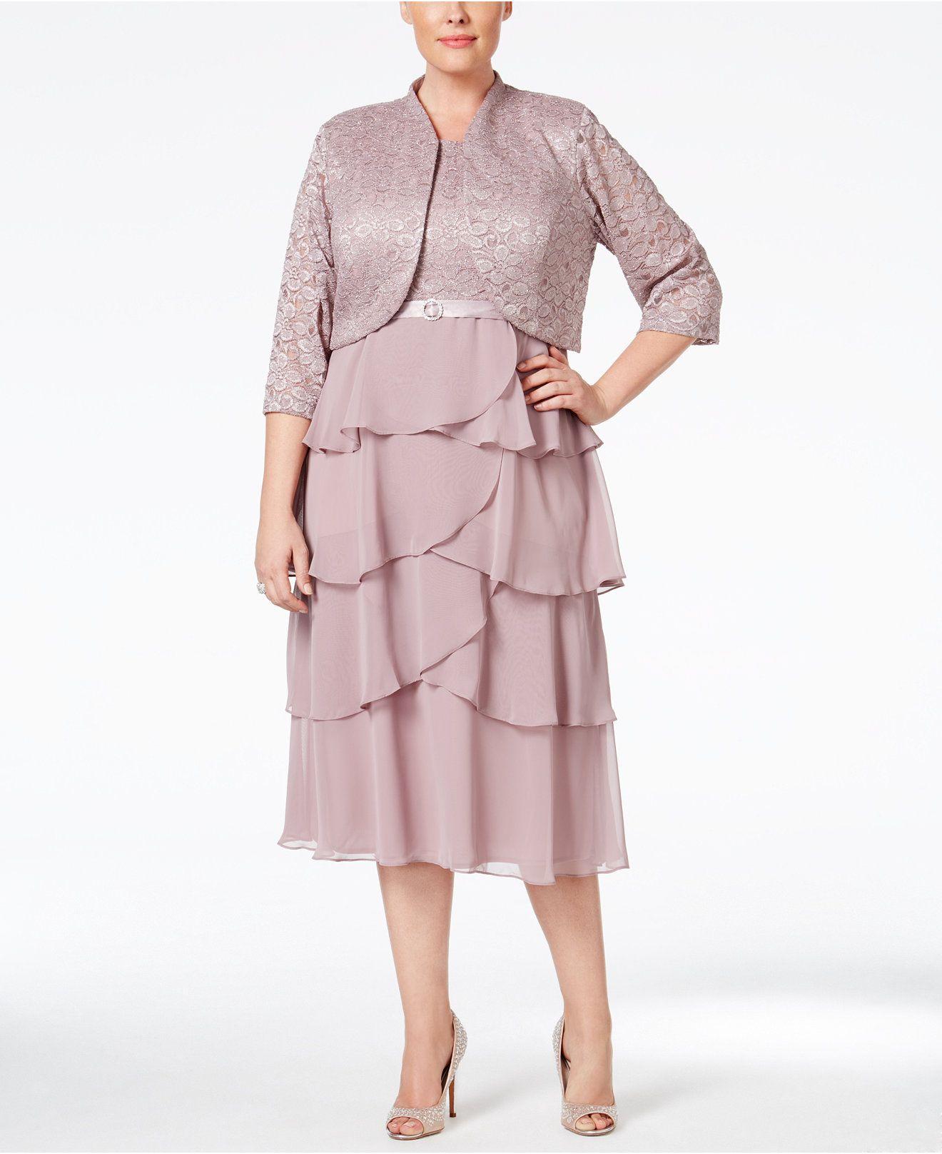 Macys womens dresses wedding  R u M Richards Plus Size Lace Tiered Dress and Jacket  Dresses