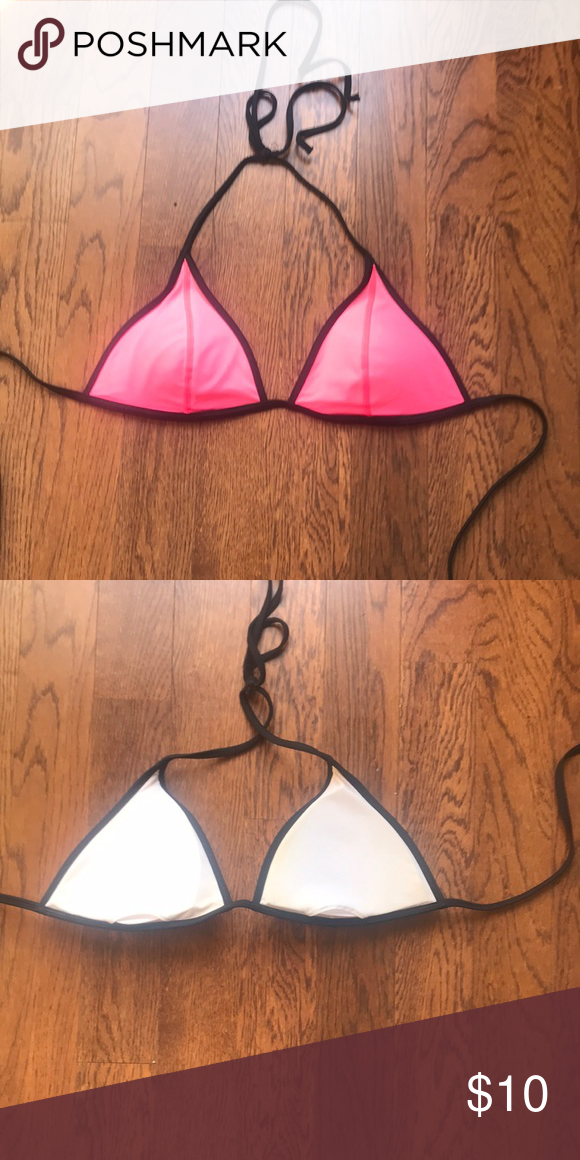 3b5907e1f Vic Secret Bikini Top Used victoria's Secret pink and black triangle bikini  top. Tie around neck and ties at back. Has removable padding shows a tiny  bit of ...
