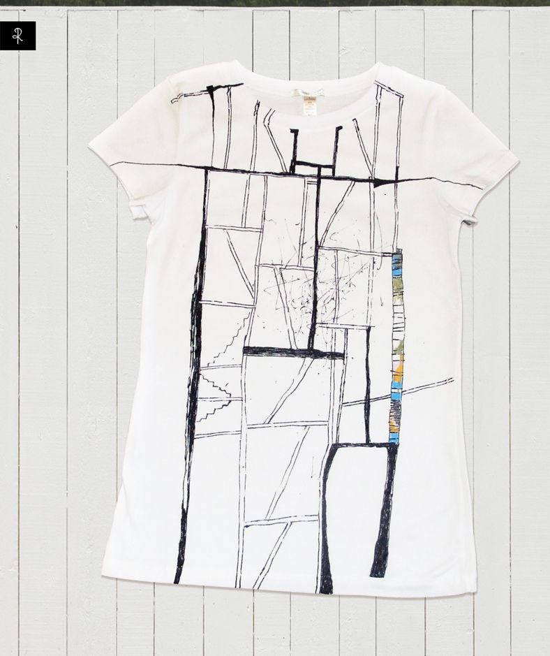 Under construction, #white #t-shirt with black illustration #Rannka
