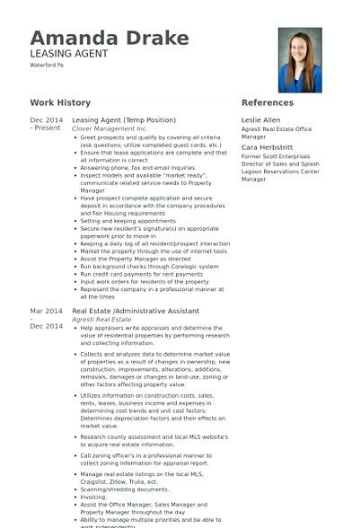 leasing agent resume template