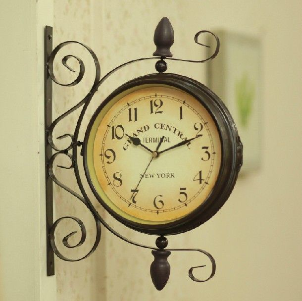 Free-shipping-Fashion-vintage-wrought-iron-olive-wall-watch-rustic ...