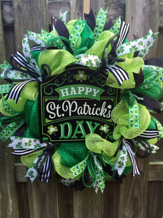 Photo of St Patrick's Day Wreath, Spring Mesh Wreath, Spring Deco Mesh, Front Door Wreath ,, Seasonal Wreath, Deluxe Spring Wreath, Spring Front Door