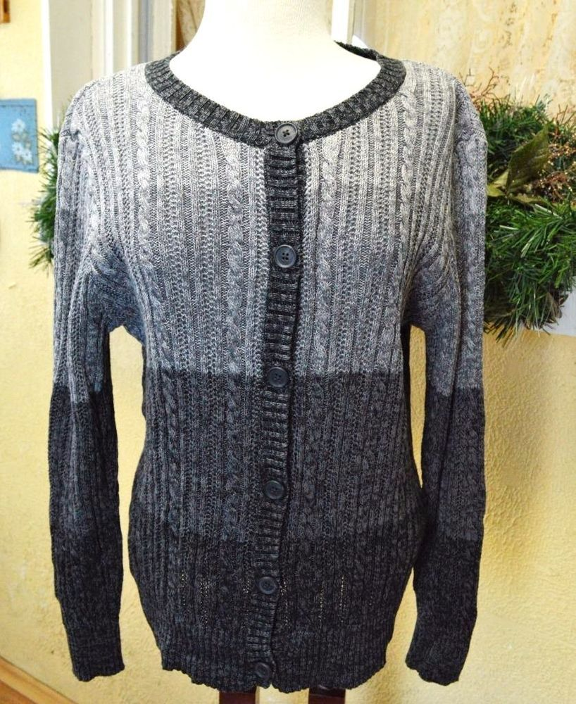 Northcrest L Cable Knit Cardigan Sweater Black Gray Variegated ...