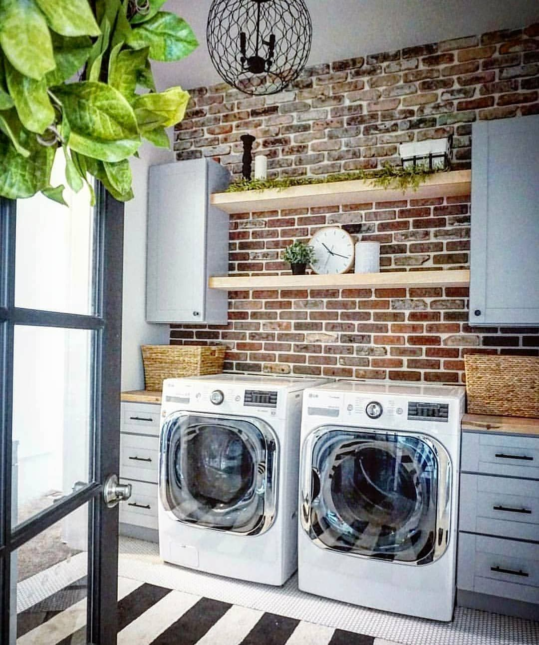 840 Likes 16 Comments Joe Heather Widdison Household No 6 On Instagram No Laundry Till Saturday Brick Accent Walls Small Farmhouse Laundry Room