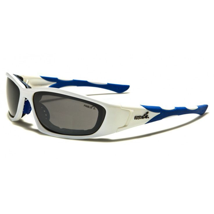 Pablo Z Mens TR-90 Padded Sports Goggles White and Blue with Gray Lenses
