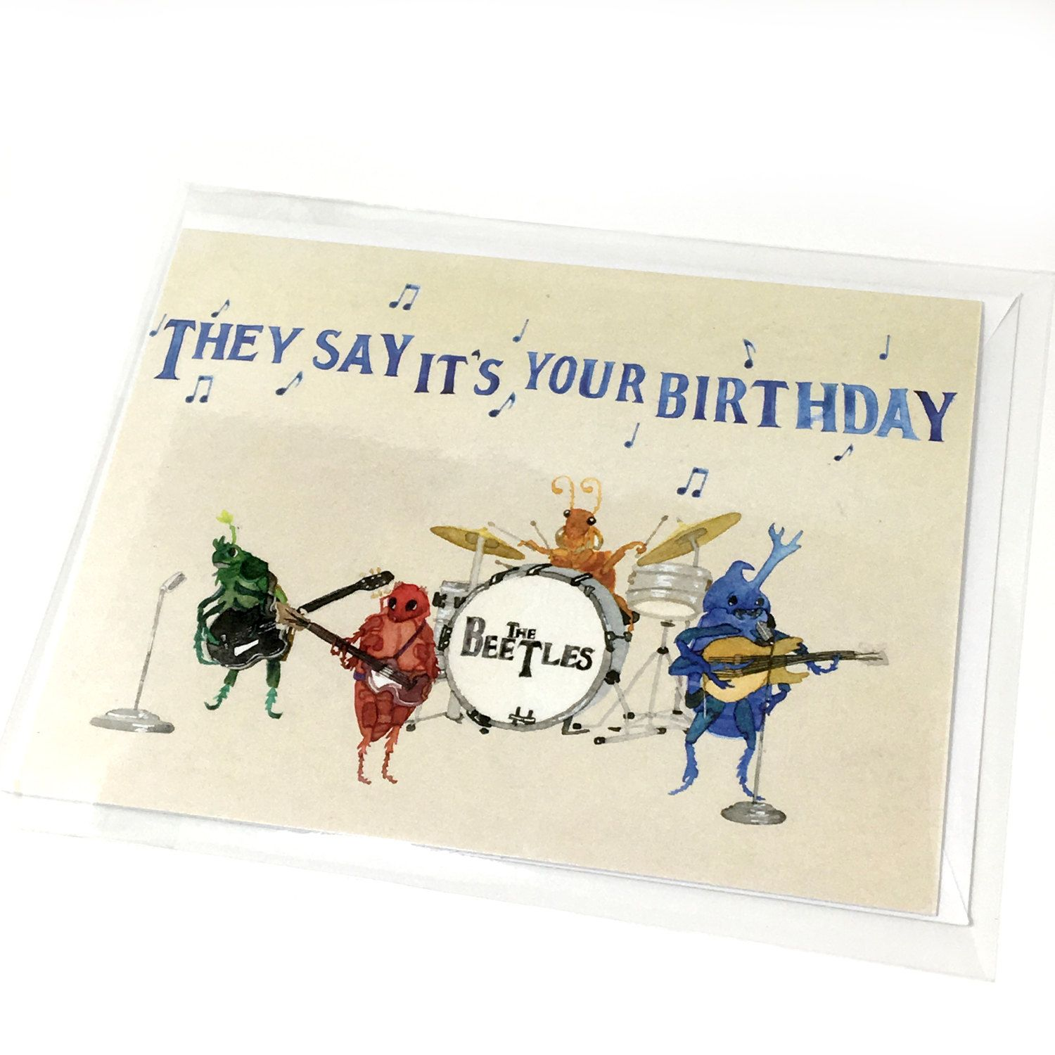 Beatles Greeting Cards With Envelopes Beatles Watercolor Note