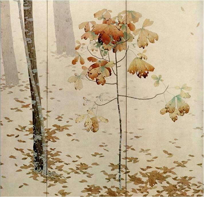 Hishida Shunsô I Fallen Leaves I 1909 I Pair of 6-fold screens I Ink and color on silk I 菱田 春草 I Japanese (1874 - 1911)