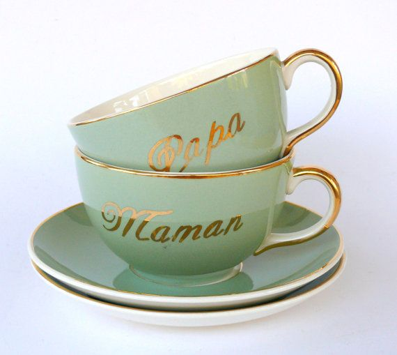 2 Antique Villeroy Boch Cups With Saucers Large Mint Green And Gold Tea Cups New Parents Gift Maman And Papa Cups Mom And Dad Cups Vaisselle Beautiful Et Maman