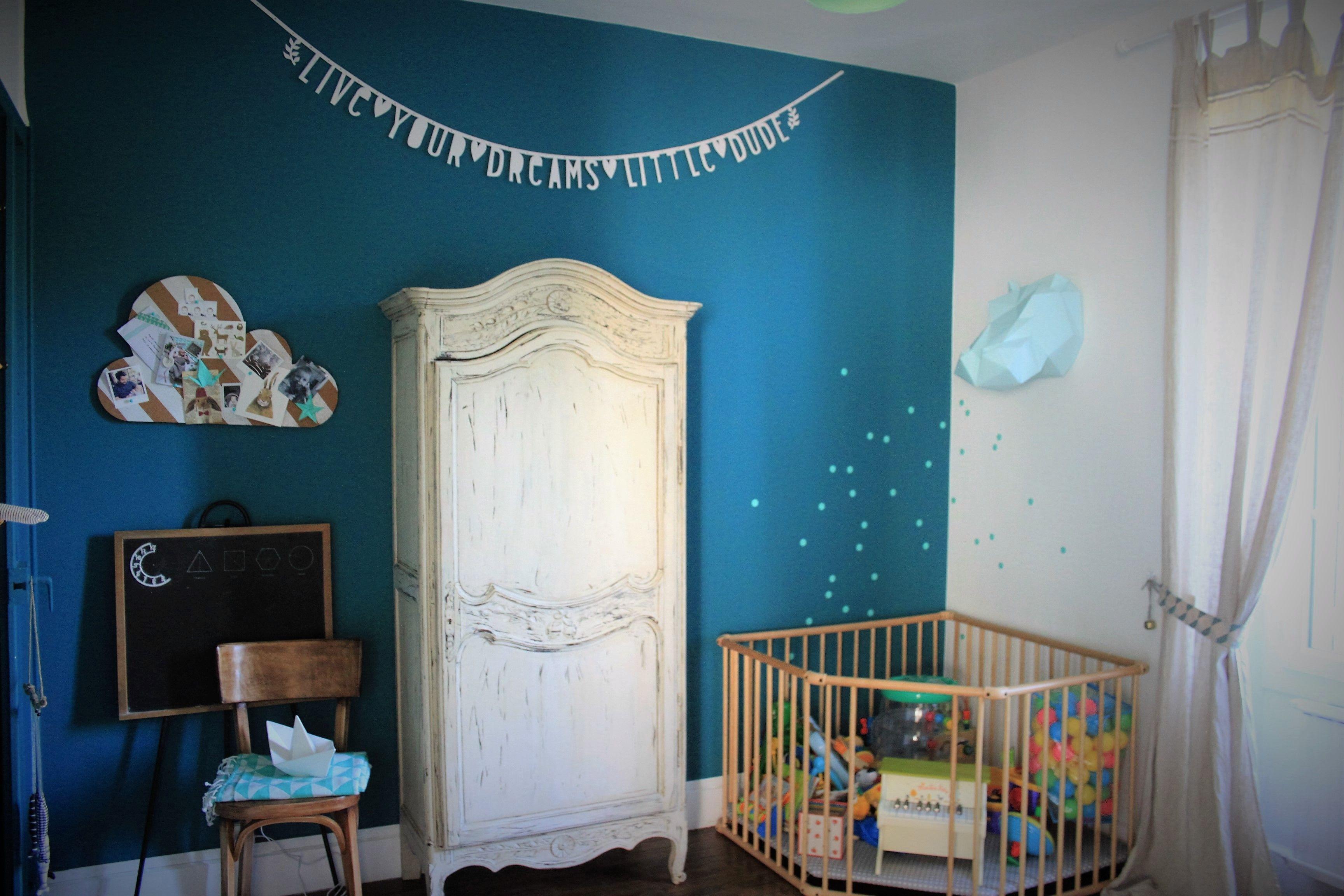 Chambre Enfant Garcon Vintage Mur Bleu Canard Home Home Decor