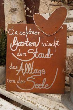 Photo of Lavagna Edelrost con bordo di poesia del segno della decorazione del giardino di ogni giorno del cuore che dice testo
