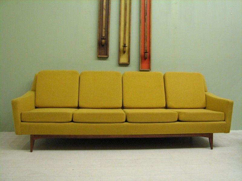 atomic yellow sofa mint mid century modern pinterest