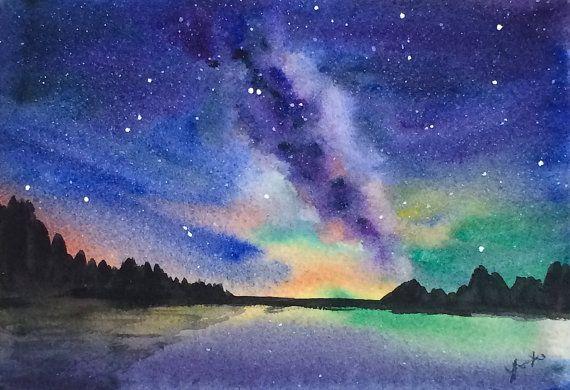 Original Watercolor Landscape Painting 5x7 Milky Way Galaxy Art Watercolor Night Sky Waterc Watercolor Night Sky Landscape Paintings Watercolor Art Lessons