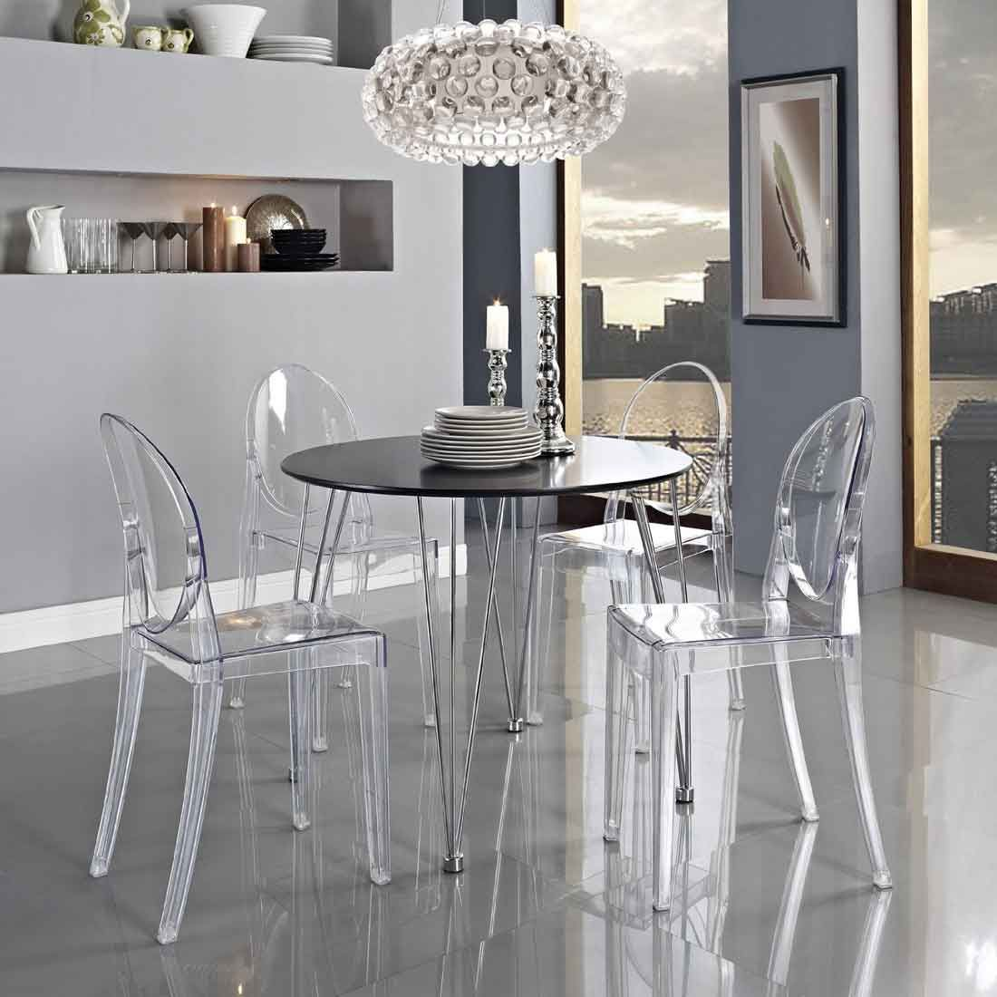 Modern Ghost Side Chair In Transparent Wedding Dining Table Vanity Side  Chairs