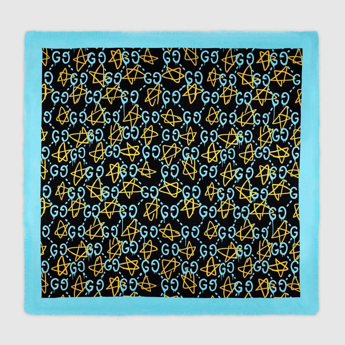2929deb89c8 GUCCI GucciGhost shawl - blue GucciGhost print.  gucci