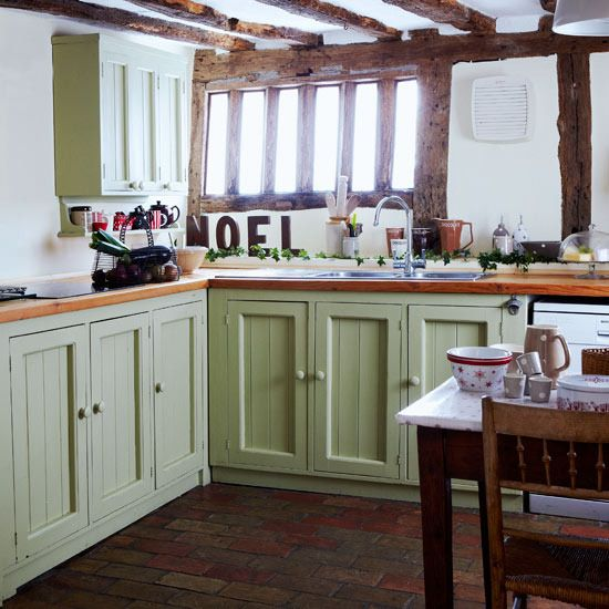 Delightful Step Inside A Cottage Dressed For Christmas Green Country Kitchen: Chalky Green  Kitchen Units Add A Vibrant Splash Of Colour To The White Walls And Exposed  ...