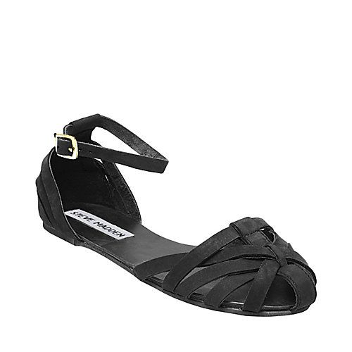 06e959d1fc90 FRANKLIN BLACK LEATHER womens sandal flat ankle strap - Steve Madden ...