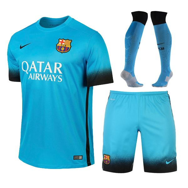 15-16 Barcelona Away Blue Champion League Jersey Whole Kit(Shirt+Short+Sock)   96e20af70