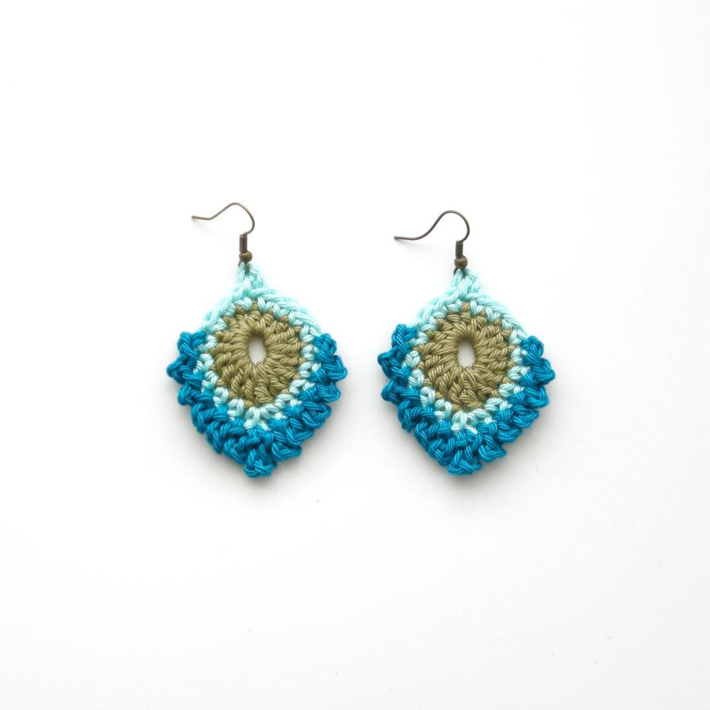 Free crochet pattern peacock feather earrings | Crochet jewelry ...