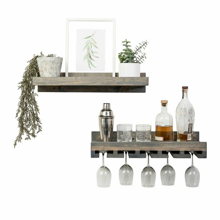 Bernon 2 Piece Wall Mounted Wine Glass Rack Set Wine
