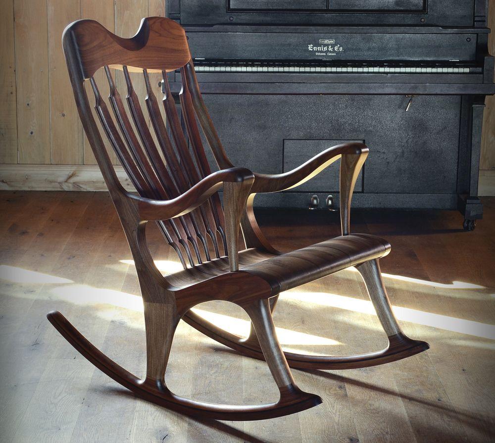 Berceuse design en cerisier fabriqu e gr ce des m thodes et assemblages traditionnels support - Chaise berceuse pour bebe ...