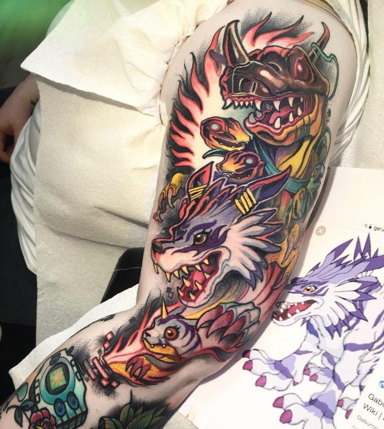 Digimon Tattoo Sleeve With Digivice Gabumon Garurumon Augumon