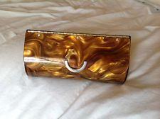 Vintage Clutch Purse Lucite Pearlized Caramel Purse Handbag Hard Case Clutch
