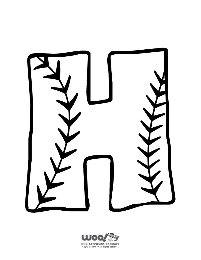 Baseball Alphabet Letter H