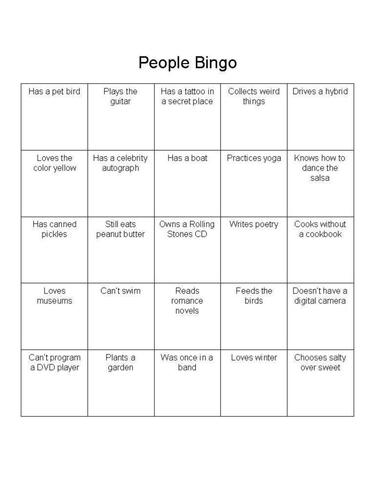 people bingo is a great ice breaker for adults people bingo ice breakers and party games. Black Bedroom Furniture Sets. Home Design Ideas