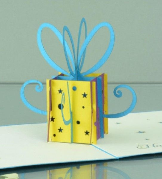 Small present box Pop up Card. Amazing lovely