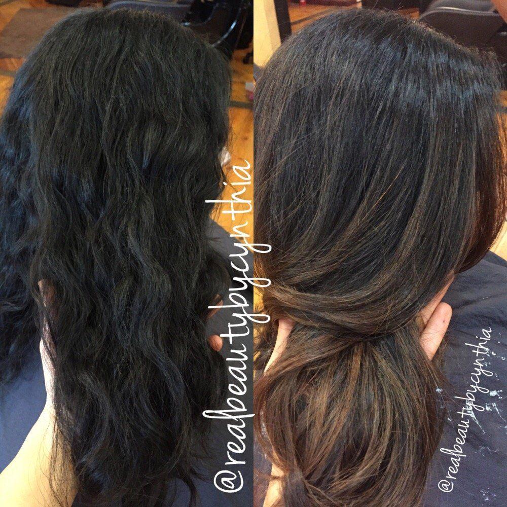 Before And After Dark Brownblack Virgin Hair To Caramel Balayage