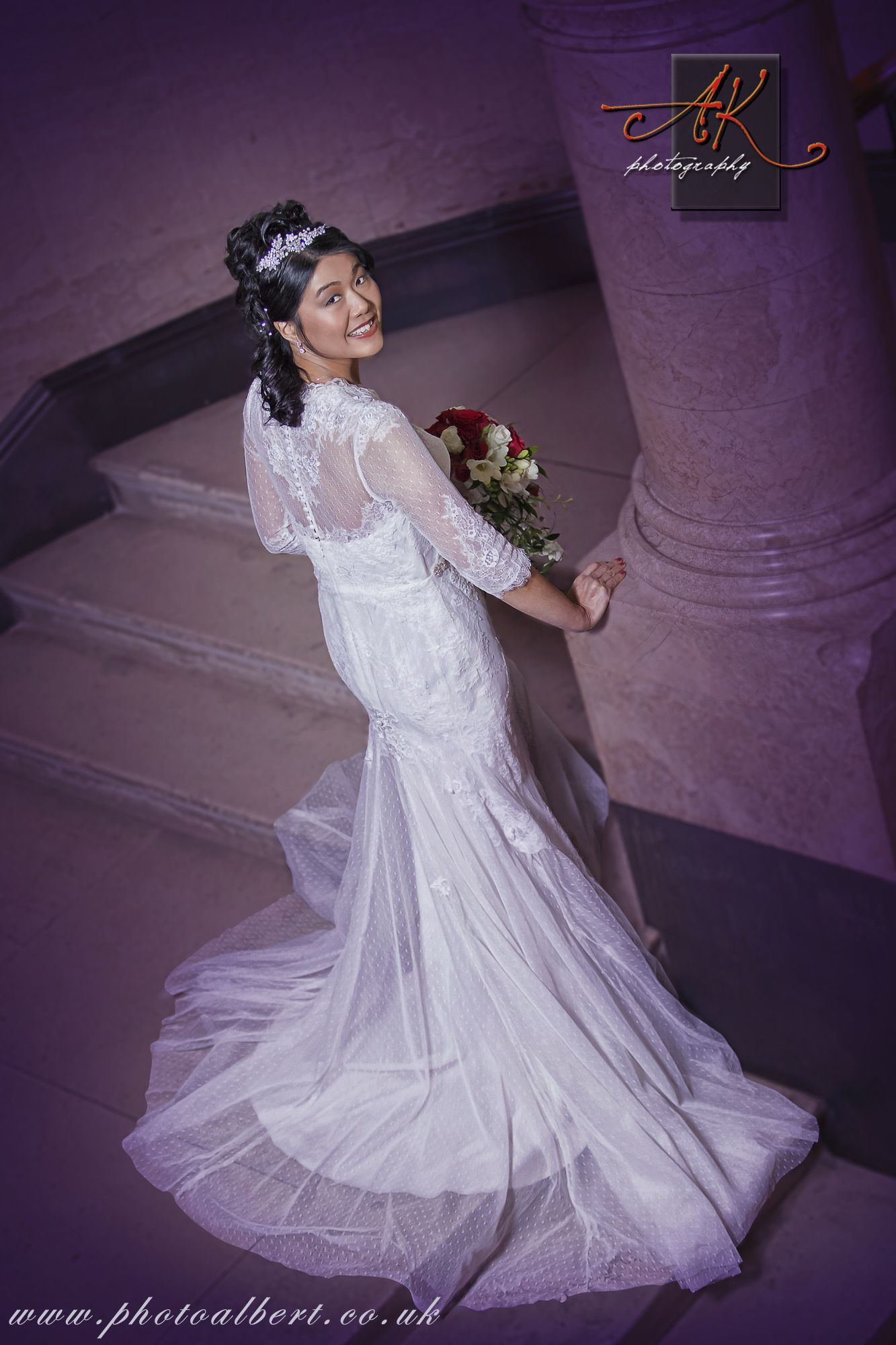 Bride at staircase in Ealing Town Hall Register Office by