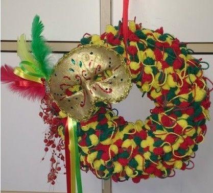 Krans met carnavalsmasker | hobbyshop-online.nl