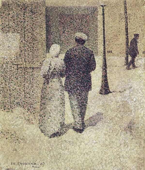 Charles Angrand(1854ー1926 a French artist who gained renown for his Neo-Impressionist paintings and drawings)「Couple in the street」(1887)