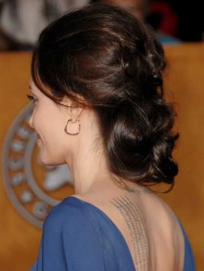Angelina Jolies elegant hairstyle at the 15th Annual Screen Actors Aguild Awards
